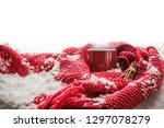 red cup with hot drink stands... | Shutterstock . vector #1297078279