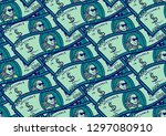 seamless pattern with dollars... | Shutterstock .eps vector #1297080910