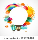 hot air balloon  colorful... | Shutterstock .eps vector #129708104