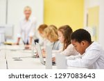 group of students in computer... | Shutterstock . vector #1297083643