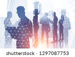 diverse manager team members... | Shutterstock . vector #1297087753