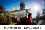 Small photo of Fishing. Fisherman and trophy Asp.