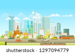 modern cityscape with cars in a ... | Shutterstock .eps vector #1297094779