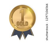 champion gold medal with blue... | Shutterstock . vector #1297106566