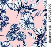 wild roses seamless pattern.... | Shutterstock . vector #1297108300