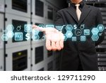 icon control in data center room | Shutterstock . vector #129711290