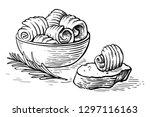 sketch hand drawn butter curls... | Shutterstock .eps vector #1297116163