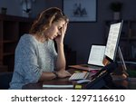mature and tired businesswoman... | Shutterstock . vector #1297116610