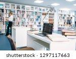 female student studying in... | Shutterstock . vector #1297117663