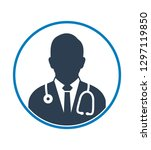 male doctor profile icon. flat... | Shutterstock .eps vector #1297119850