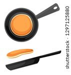 flying pancakes and frying pan. ... | Shutterstock .eps vector #1297125880