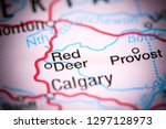 Red Deer. Canada on a map