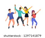 a group of happy active young... | Shutterstock .eps vector #1297141879