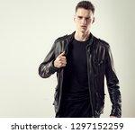 fashion portrait of a handsome... | Shutterstock . vector #1297152259