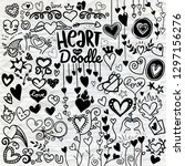 heart icons set  hand drawn... | Shutterstock .eps vector #1297156276
