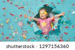 little child playing superhero. ... | Shutterstock . vector #1297156360