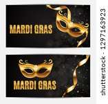 mardi gras party mask holiday... | Shutterstock . vector #1297163923
