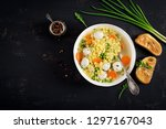 italian meatball soup and ... | Shutterstock . vector #1297167043