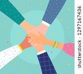concept of team work. friends... | Shutterstock .eps vector #1297167436