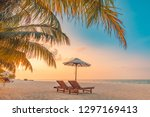 beautiful beach. chairs on the... | Shutterstock . vector #1297169413