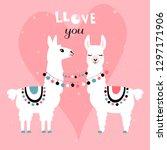 llama alpaca. pair of loving... | Shutterstock .eps vector #1297171906