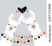 llama alpaca. pair of loving... | Shutterstock .eps vector #1297171909