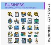 business icons set. ui pixel... | Shutterstock .eps vector #1297173826