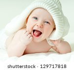 Stock photo laughing baby 129717818
