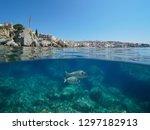 spain coastline at calella de... | Shutterstock . vector #1297182913