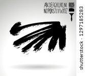 black brush stroke and... | Shutterstock .eps vector #1297185283