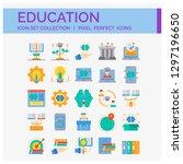 education icons set. ui pixel... | Shutterstock .eps vector #1297196650