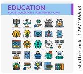 education icons set. ui pixel... | Shutterstock .eps vector #1297196653