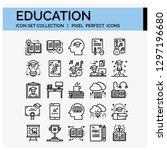 education icons set. ui pixel... | Shutterstock .eps vector #1297196680
