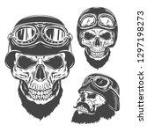 Set Of Biker Sculls And Helmets....