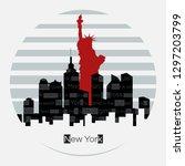 vector round label. new york... | Shutterstock .eps vector #1297203799