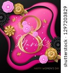 happy women's day greeting card.... | Shutterstock .eps vector #1297203829