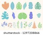 set of tropical leaves  fantasy ... | Shutterstock .eps vector #1297208866