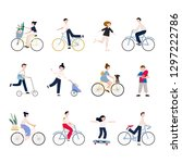 group of tiny people riding... | Shutterstock .eps vector #1297222786
