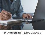 casual business man writing... | Shutterstock . vector #1297226413