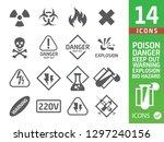 danger icons set   Shutterstock .eps vector #1297240156