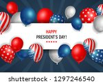 presidents day poster with...   Shutterstock . vector #1297246540