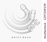 hand draw style of 3 drift cars ... | Shutterstock .eps vector #1297249159