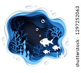 paper art of the fish in under... | Shutterstock .eps vector #1297252063