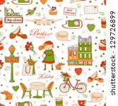 paris travel seamless pattern ... | Shutterstock .eps vector #129726899