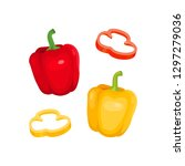 bell pepper. red and yellow... | Shutterstock .eps vector #1297279036