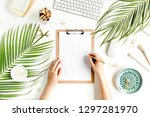 female workspace with female... | Shutterstock . vector #1297281970