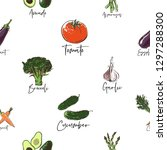 vegan food seamless pattern... | Shutterstock .eps vector #1297288300