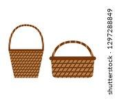 wicker willow baskets. set of... | Shutterstock .eps vector #1297288849