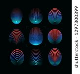 set of fingerprint icon. round... | Shutterstock . vector #1297300399