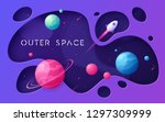 colorful cartoon outer space... | Shutterstock .eps vector #1297309999